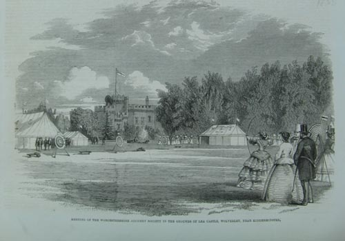 Meeting of the Worcestershire Archery Society in the Gardens of Lea Castle, Wolverley, near Kidderminster     1858