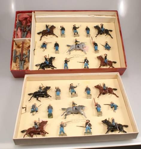Britains Set # 2070 RARE US Civil War Display Set Union Cavalry, Infantry and Artillery and Confederate Cavalry, Infantry and Artillery. Tied in two tier Original R.O.A.N Box. 30 Pieces. http://www.michtoy.com/item-OSC-BHC-2070-Britains_Set__2070_RARE._US_Civil_War_Display_Set.html
