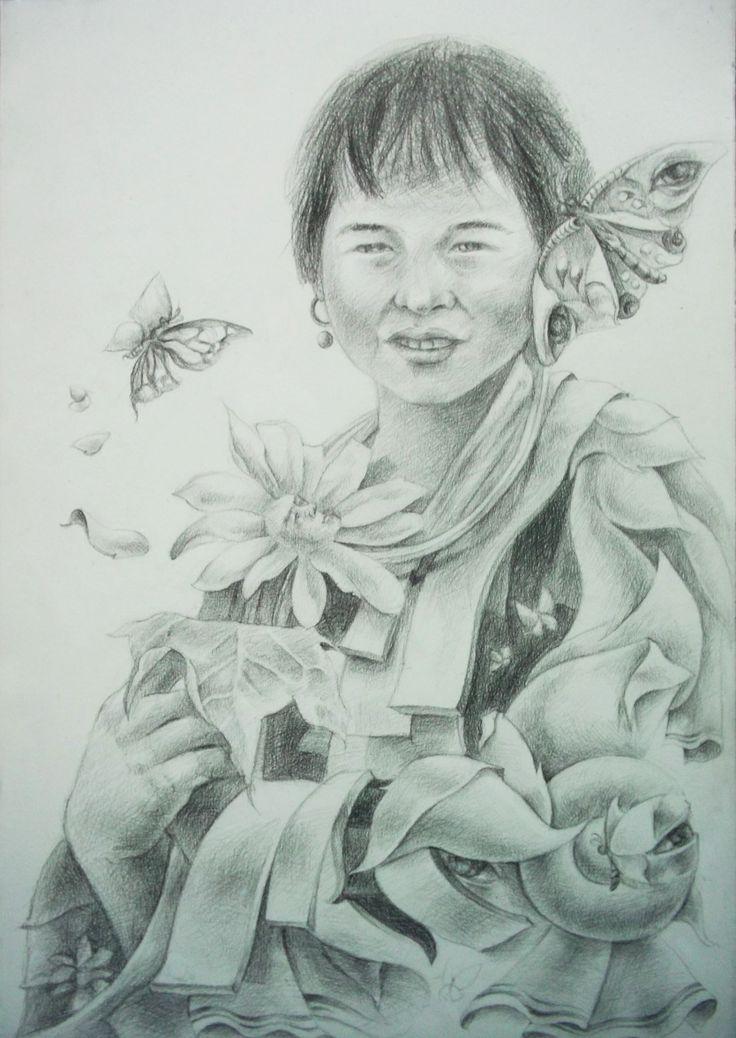 Drawing Pancil on Paper by Sittichai Pijitam (cycnas)