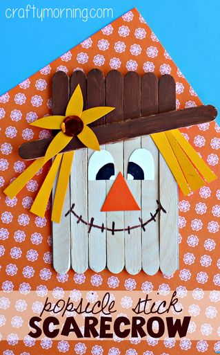 Popsicle Stick Scarecrow Craft #Fall craft for kids to make - so cute! | CraftyMorning.com