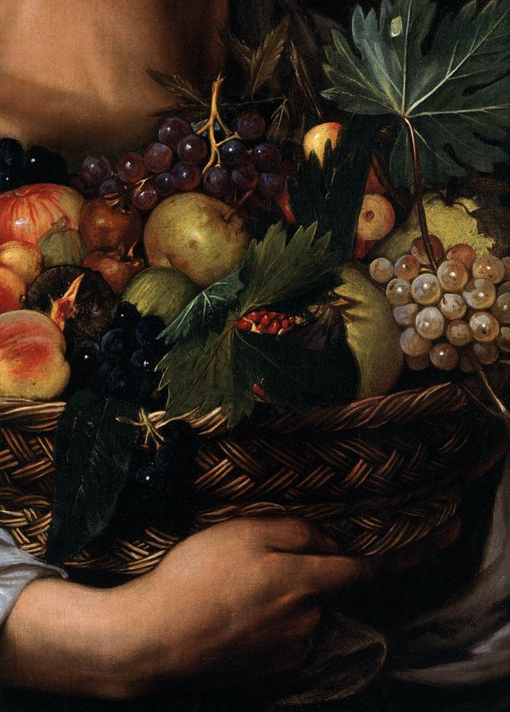 """Boy w/ a Basket of Fruit"" (detail) 1593 -- Caravaggio -- Italian -- Oil on canvas -- Borghese Gallery, Rome"