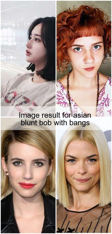 Image result for asian blunt bob with bangs en 2020 (avec images) | Coupe de cheveux bob