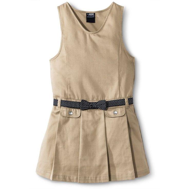 French Toast Girls' Polka Dot Bow Belted Jumper Khaki (Green) 10, Girl's