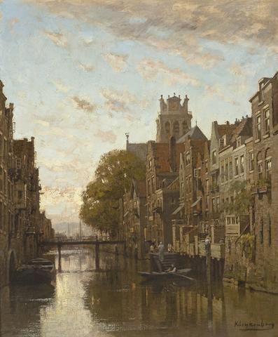 Johannes Christiaan Karel Klinkenberg (Dutch, 1852-1924) A canal in Amsterdam 17 3/4 x 15in (44 x 38.1cm)