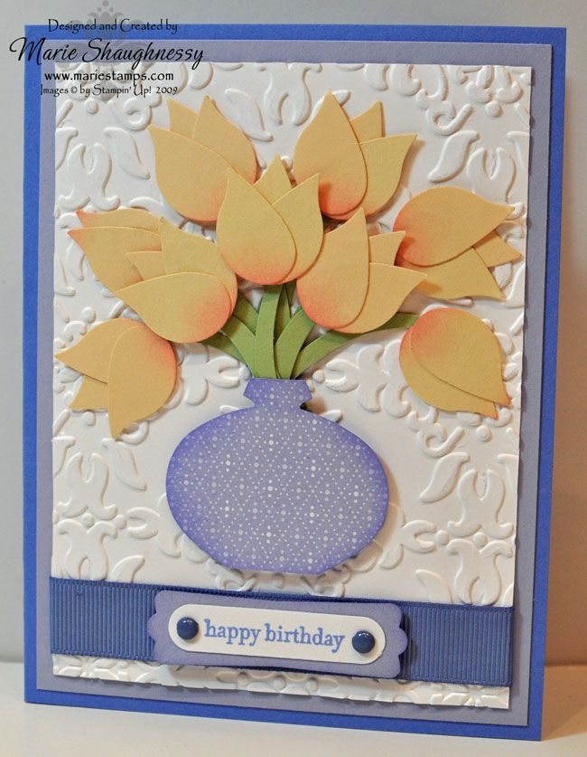 Stamping Inspiration from MarieStamps.com: VINTAGE TULIP VASE PUNCH ART CARD featuring Stampin' Up!'s Bird Punch and Ornament Punch.