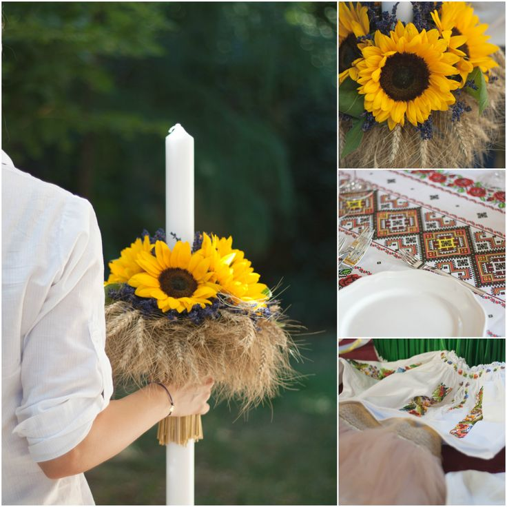 Candle decorated with sunflower and table decoration for a traditional Romanian wedding:
