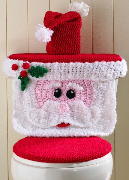 Santa Toilet Cover  PA953 by Maggiescrochet on Etsy, $7.99