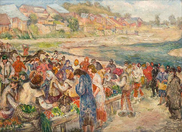 Fryderyk Pautsch: Targ na Ukrainie, przed 1935 r. olej, tektura, 66 × 91,5 cm sygn. i dat. p. d.: FPautsch (?)
