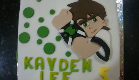 Ben 10 Birthfday Cake Ben 10 themed cake for a little boy's birthday. Ben with his watch and a monster from the popular cartoon. The...