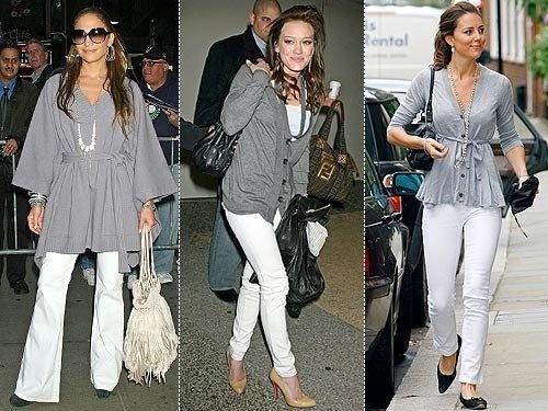 white denim jeans celebritiesA Mini-Saia Jeans, Grey And White, White Denim Jeans, Jeans Gray, Gray Sweaters, White Pants, Left Outfit, Grey Tops, White Jeans