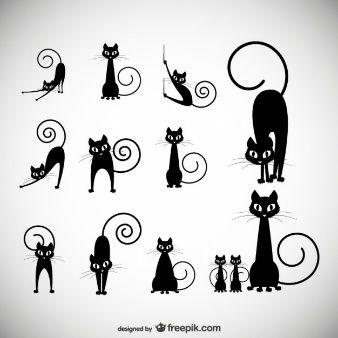 Векторная иллюстрация: Черная кошка силуэт коллекции