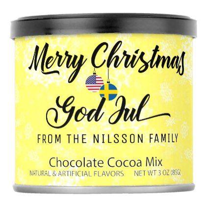 Bilingual Swedish American Holiday Hot Cocoa Hot Chocolate Drink Mix - merry christmas diy xmas present gift idea family holidays