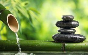 Обои равновесие, вечнозеленый, спокойствие, бамбук, черные, стебли, wallpaper., размытость, плоские, вода, боке, гармония, зеленые, камни