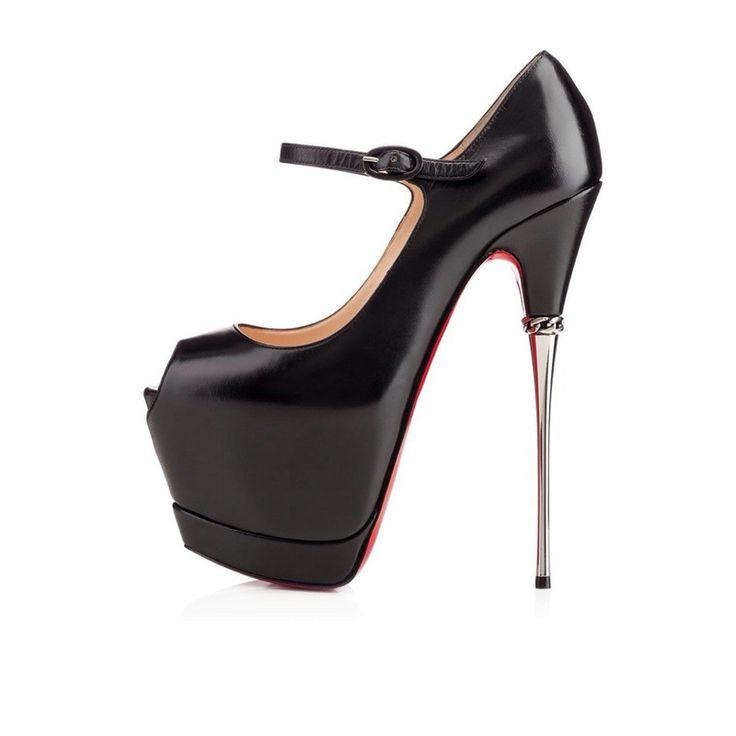 spedizione gratuita rosso tacchi unica alti scarpe 2015 nero in vera pelle piattaforma plateau mary jane tacchi a spillo prom party pompe(China (Mainland))