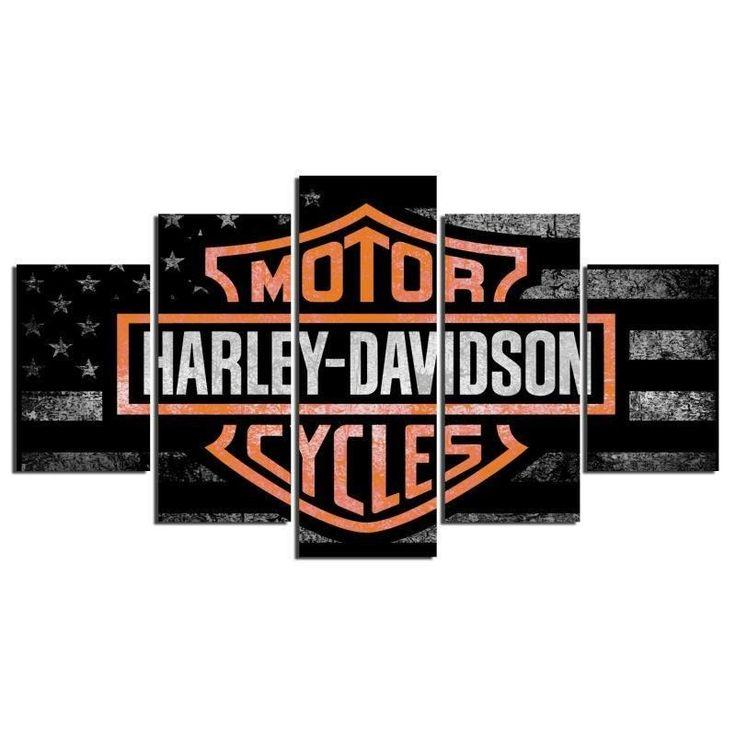 5 Panel Framed Harley Davidson Cycles Wall Art Canvas | Octo Treasure
