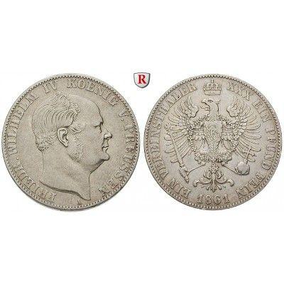 Brandenburg-Preussen, Königreich Preussen, Friedrich Wilhelm IV., Vereinstaler 1861, ss: Friedrich Wilhelm IV. 1840-1861.… #coins
