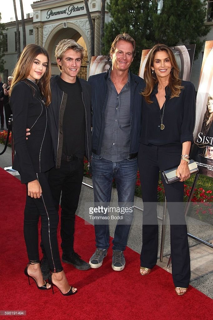 Actress Kaia Gerber, Presley Walker Gerber, Rande Gerber and model Cindy Crawford attend the premiere of Lifetime's 'Sister Cities' held at Paramount Theatre on August 31, 2016 in Hollywood, California.