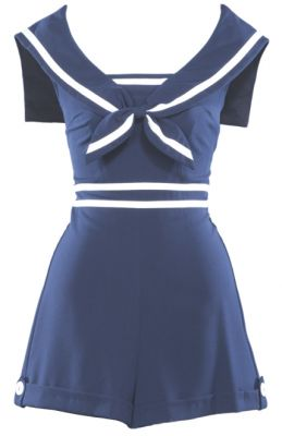 Alternative Swimsuit in Navy & White, Sailor Collar - Stop Staring! Clothing
