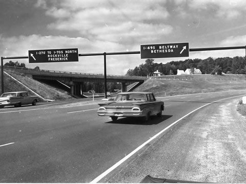1964 - Smooth sailing on the I-495/I-270 interchange of the Capital Beltway in Montgomery County, Maryland.