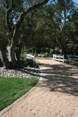 Heres a snap shot of the finished project on a graveled driveway.  The gravel sounds beautiful when you walk on it and the color and texture are perfect with the local stone they have for walls and fencing