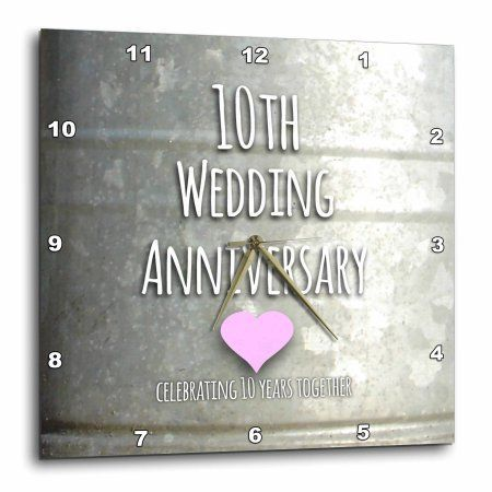 3dRose 10th Wedding Anniversary gift - Tin celebrating 10 years together - tenth anniversaries ten yrs, Wall Clock, 10 by 10-inch