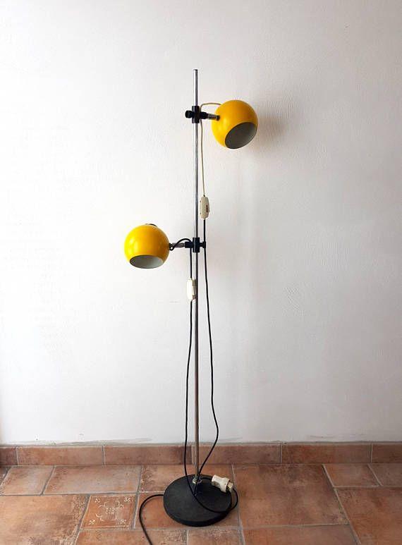 Design Vintage Hanglamp.Vintage Space Age Floor Lamp Two Shaded Yellow Eyeball Lamp