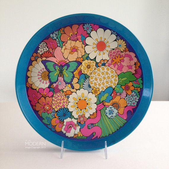 Ivan Ripley Psychedelic Daisy Floral English Tin Tray by alamodern, $28.00
