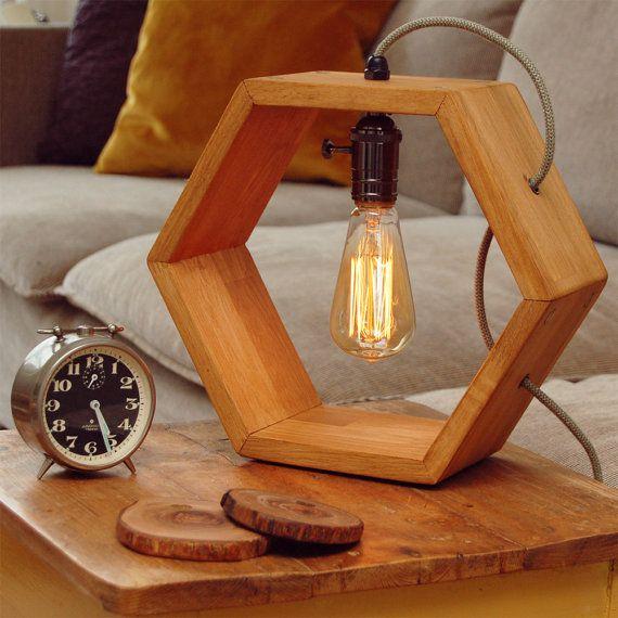 Wooden handmade Vintshop hexagon design table lamp with Edison bulb-light oak-desk lamp-wooden lamp-retro lamp