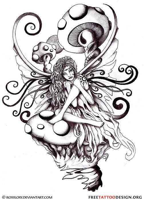 Fairy and mushrooms tattoo design