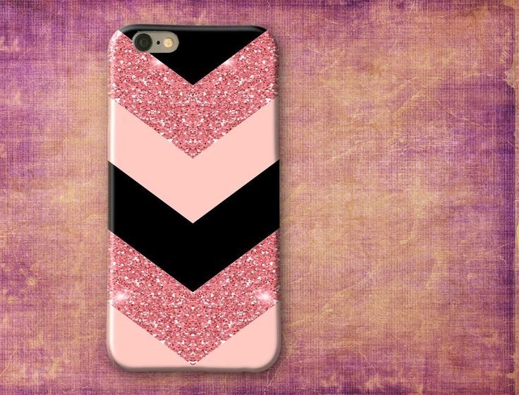 Sweet Powder Pink and Black, Chevron, Pink Glitter, iPhone 6 case, monogram iPhone 6/6s/6 Plus/6s Plus/5s - samsung s6, phone case by SaidTheOwl on Etsy