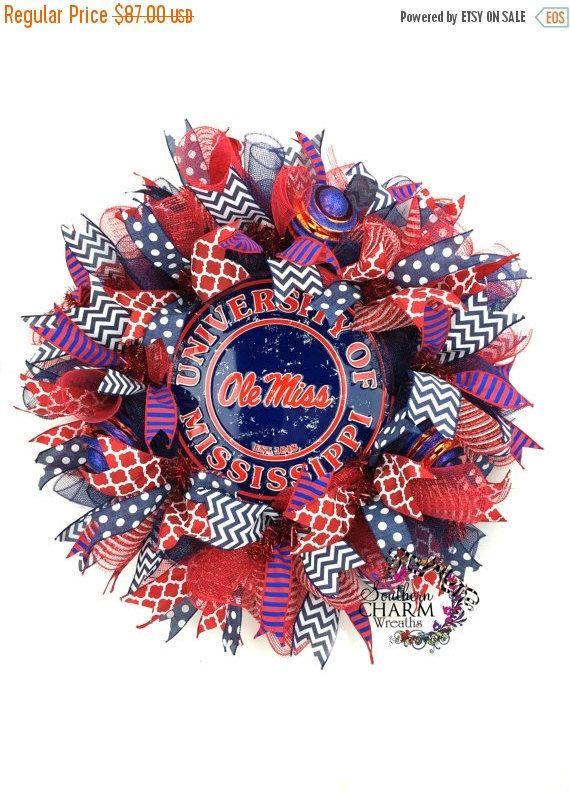 ON SALE Ole Miss Wreath -University of Mississippi Wreath -Ole Miss Tailgate Decor -Ole Miss Door Wreath -College Wreaths