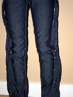 Turning an old pair of jeans into skinny jeans!
