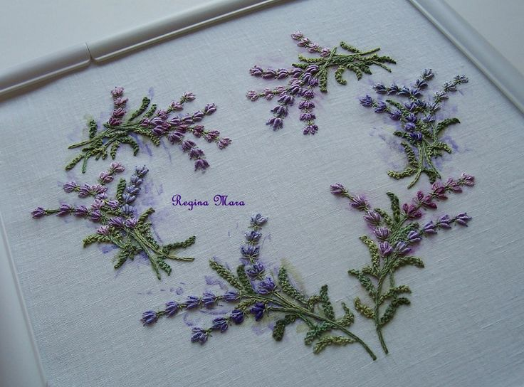 Lavender Heart pillow - a Rose Petrus embroidery kit.