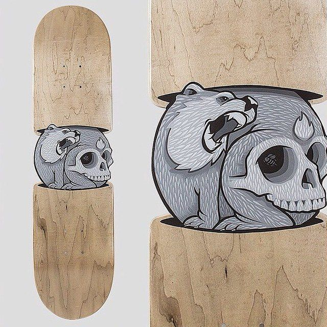 Jeremy Fish Painted Skateboard