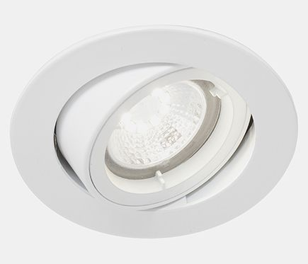propuesta de iluminación zona recibidor-pasillo,  falso techo de dormitorio sobre armario y baño - Foco empotrable led redondo aluminio blanco 80mm de diámetro, 5w y 350 lúmenes