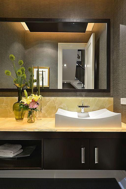 Contemporary Powder Room - Onyx countertop, raised white ...