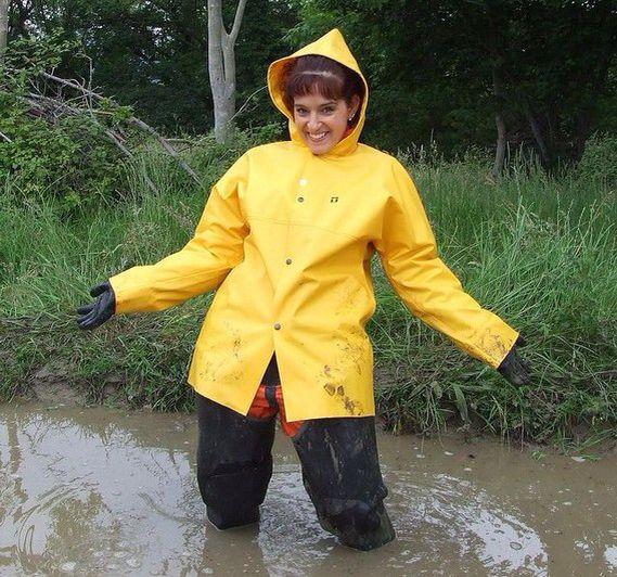 Water waders and yellow rainwear.