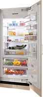 $6200 Miele 15.95 CuFt. Total Storage Capacity Accepts custom panel or stainless steel front MasterCool Controls/ ClearView Lighting/ Drop And Lock Shelving System/ SmartFresh Storage Drawers/ FullView Extendable Storage Drawers/ Dual Compressor System/ Right Hand Hinge/ Fully Integrated Finish