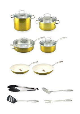 Wolfgang Puck  14-Piece Non-Stick Cookware Set- Gold  Online Only