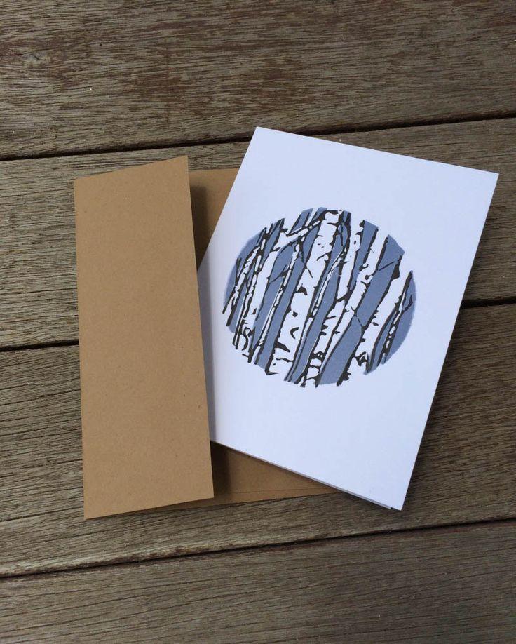 Linocut Card, Printed Cards, Birch Tree Card, Block Print Card, Tree Block…