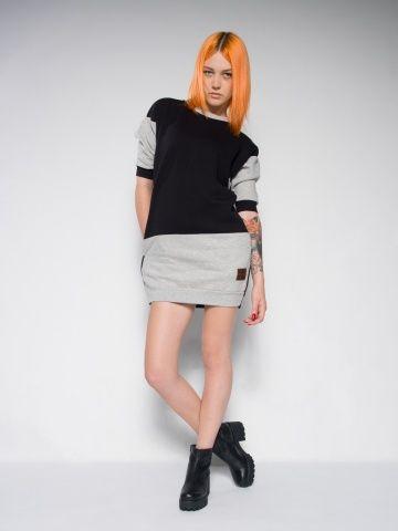 Monochromatic sweat dress Streetwear Cotton dress