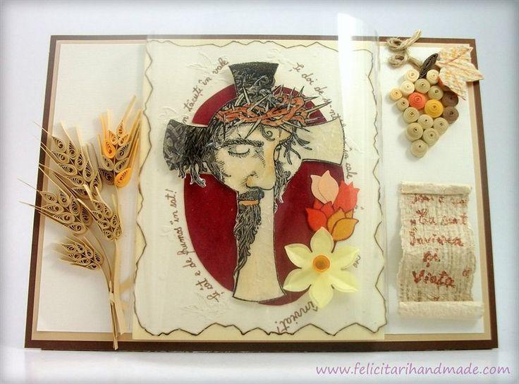 Felicitare quilling Paste cu Isus pe cruce, struguri și spice de grâu (vin și pâine) / Easter quilling card with Jesus on Cross, grapes and wheat (whine and bread)