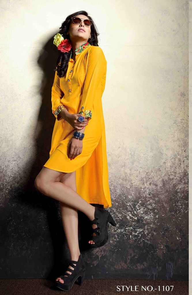Buy Apparels- Mustard Colour Rayon Party Wear Western Printed Kurti
