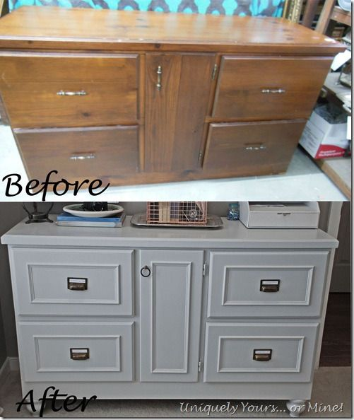 Checkout this site for great before and after furniture updating projects. Fabulous credenza painted grey with bin pulls added!