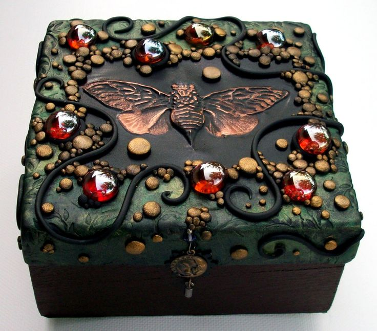 Polymer Clay decorated Trinket Box with hand tooled copper Cicada. $45.00, via Etsy.