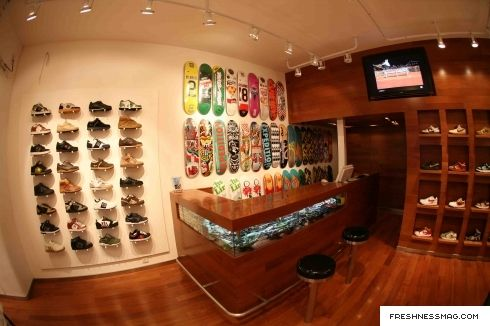 Shoes display, glass counter