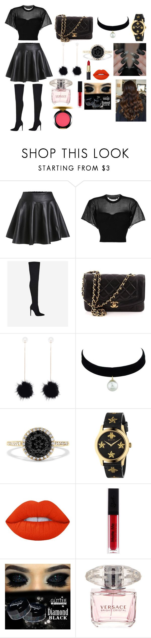 """""""club night"""" by angelmvai on Polyvore featuring Alexander Wang, Chanel, Effy Jewelry, Gucci, Lime Crime, Versace and MAC Cosmetics"""