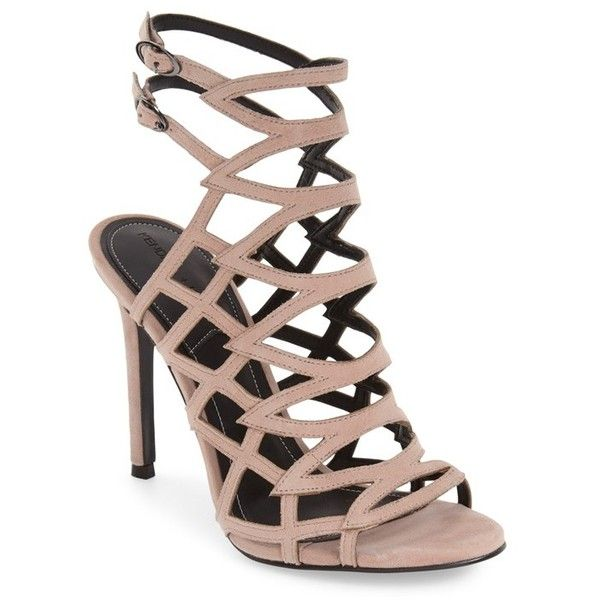 Women's Kendall + Kylie 'Elisa' Cage Sandal (€145) ❤ liked on Polyvore featuring shoes, sandals, heels, sapatos, natural suede, heels stilettos, slim shoes, heeled sandals, suede sandals and stiletto heel sandals