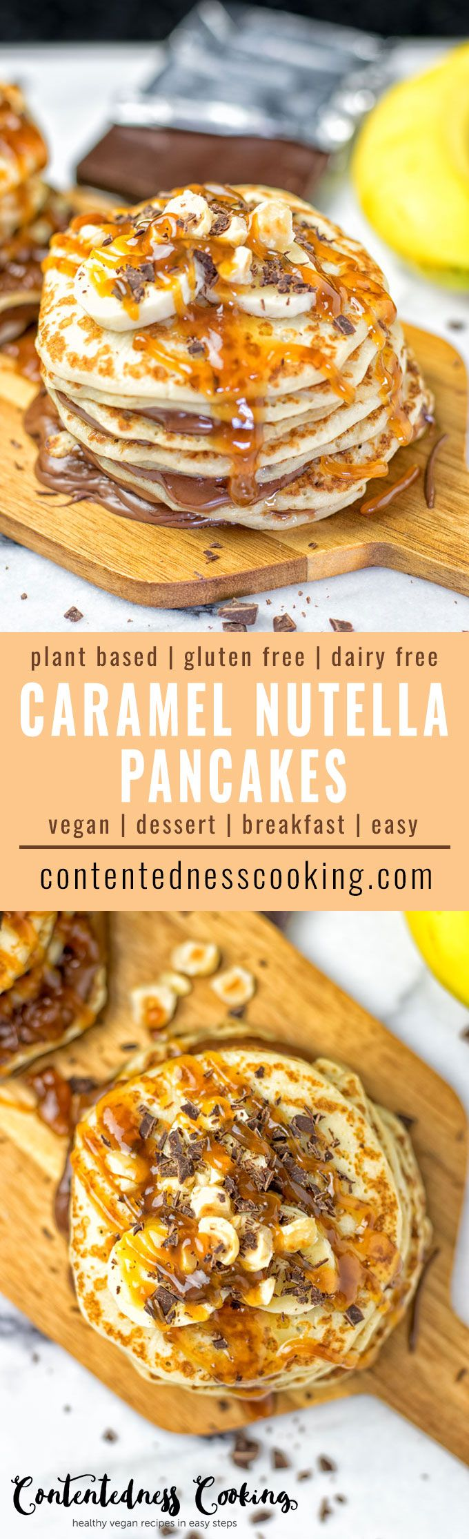 Get excited for the most delicious Caramel Nutella Pancakes you've ever made. These are vegan, gluten free, layered with a dairy free hazelnut chocolate spread and topped with caramel. Breakfast, or dessert? No need to decide! #vegan #glutenfree #dairyfree #breakfast #dessert #plantbased
