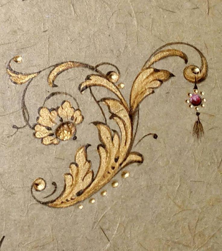motif / or / végétal / floral